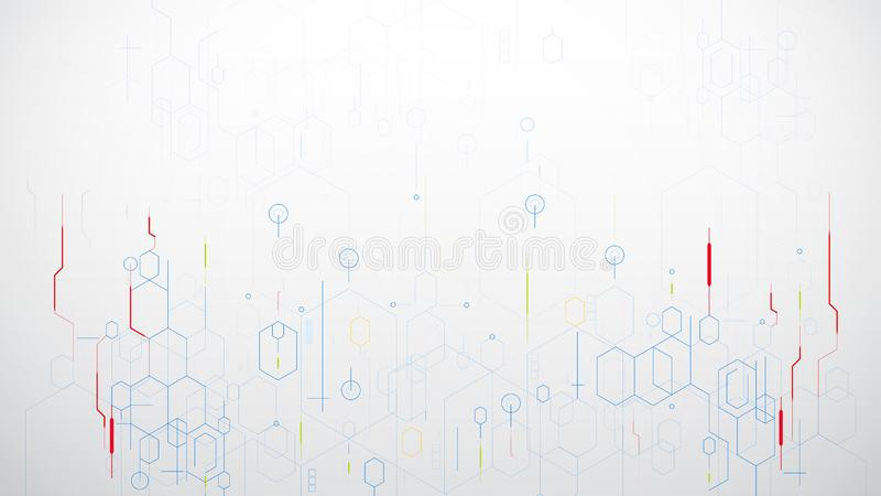 Abstract science hexagon technology vector on white background royalty free illustration