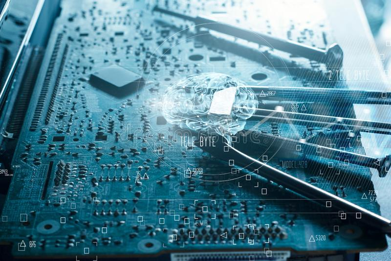 Abstract. Science and innovative. Brain and electronic circuit. Board computer hardware mainboard repair. Mix media. Innovation and technology concept stock image
