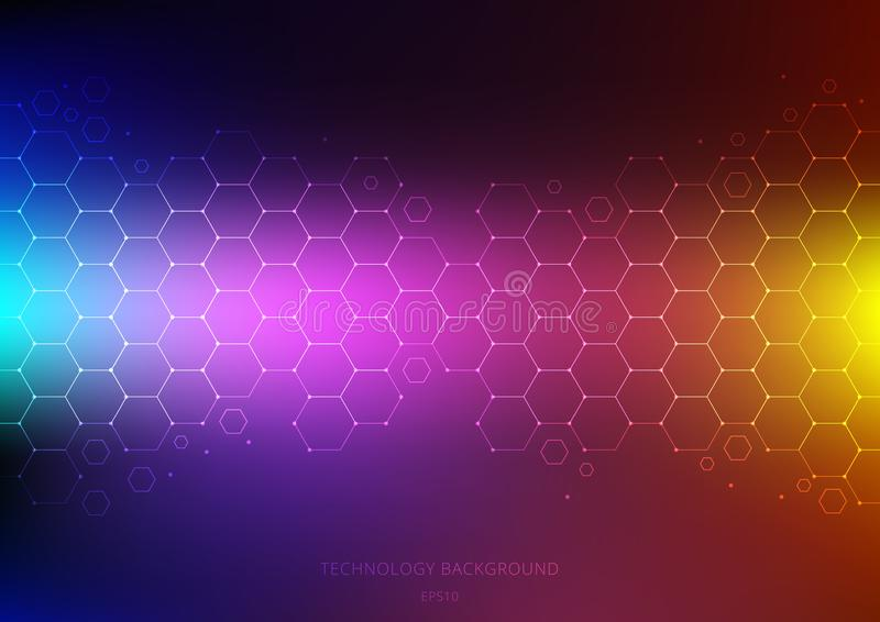 Abstract science and technology concept from hexagons pattern with node on vibrant color background. Structure molecule and vector illustration