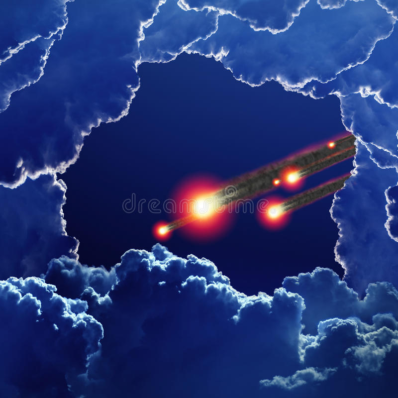 Asteroid impact. Abstract scientific background - asteroid, meteorite impact, dark blue sky with clouds royalty free stock photo