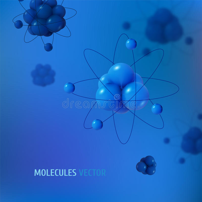 Abstract scientific background with atoms structure. Vector protons neutrons and electrons. Science concept.  vector illustration