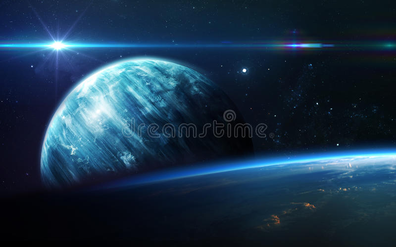 Abstract scientific background - planets in space, nebula and stars. Elements of this image furnished by NASA nasa.gov. Abstract scientific background - planets stock image