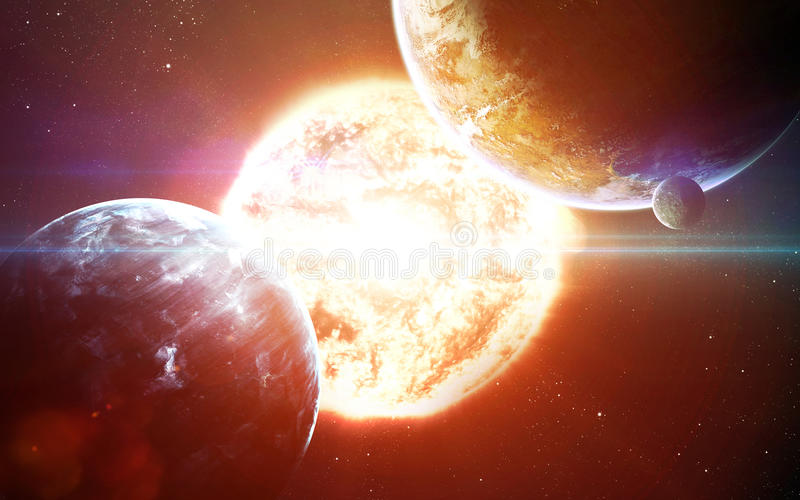 Abstract scientific background - planets in space, nebula and stars. Elements of this image furnished by NASA nasa.gov. Abstract scientific background - planets stock photo