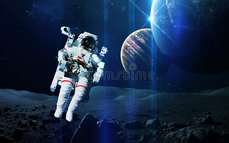 Abstract scientific background - planets in space, nebula and stars. Elements of this image furnished by NASA nasa.gov royalty free stock photo