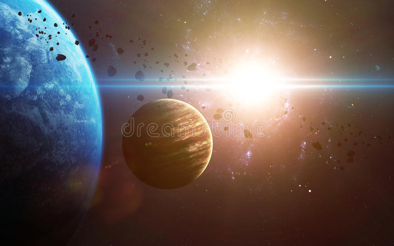 Abstract scientific background - planets in space, nebula and stars. Elements of this image furnished by NASA nasa.gov. Abstract scientific background - planets stock images