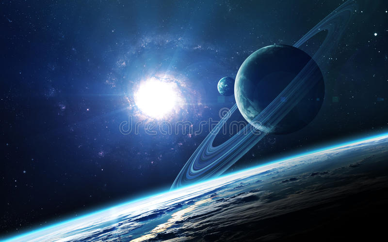 Abstract scientific background - planets in space, nebula and stars. Elements of this image furnished by NASA nasa. gov royalty free stock image