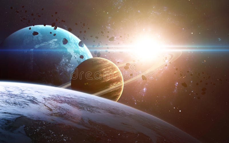 Abstract scientific background - planets in space, nebula and stars. Elements of this image furnished by NASA nasa.gov. Abstract scientific background - planets royalty free stock photography