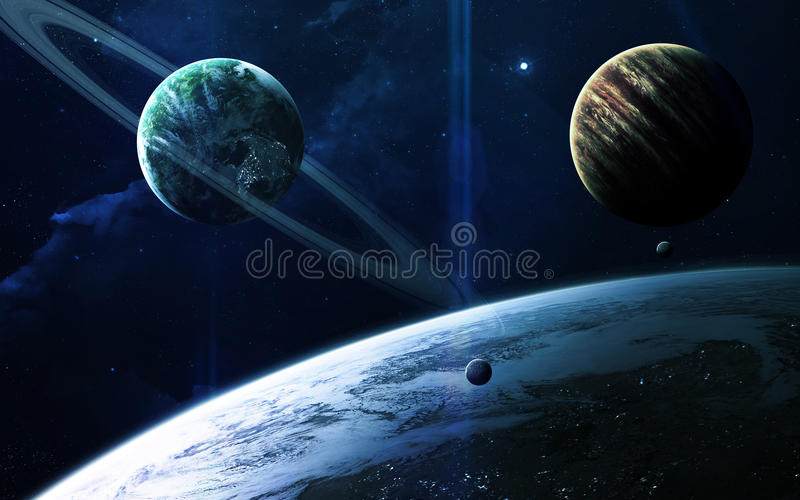 Abstract scientific background - planets in space, nebula and stars. Elements of this image furnished by NASA nasa.gov. Abstract scientific background - planets royalty free stock photos