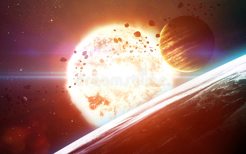 Abstract scientific background - planets in space, nebula and stars. Elements of this image furnished by NASA nasa.gov. Abstract scientific background - planets royalty free stock photo
