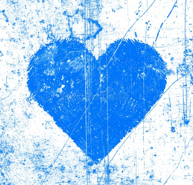 Abstract scratches background with blue love symbol vector illustration