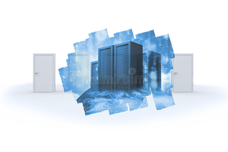 Download Abstract Screen In Room Showing Server Towers Stock Illustration - Image: 37395944