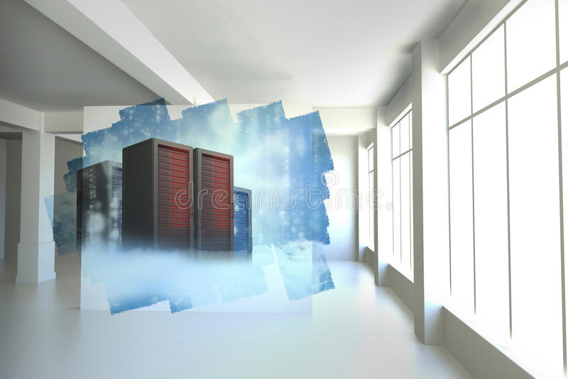 Abstract screen in room showing server towers vector illustration
