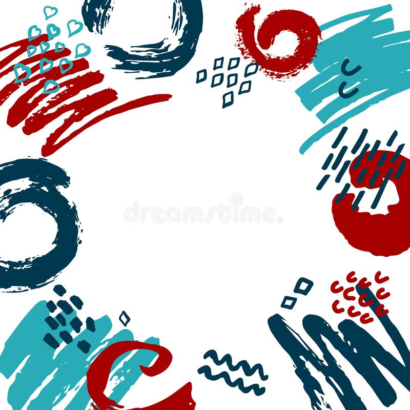 Abstract scribble doodle different shapes marker pen brush strokes blue red white colors border frame fun texture royalty free illustration