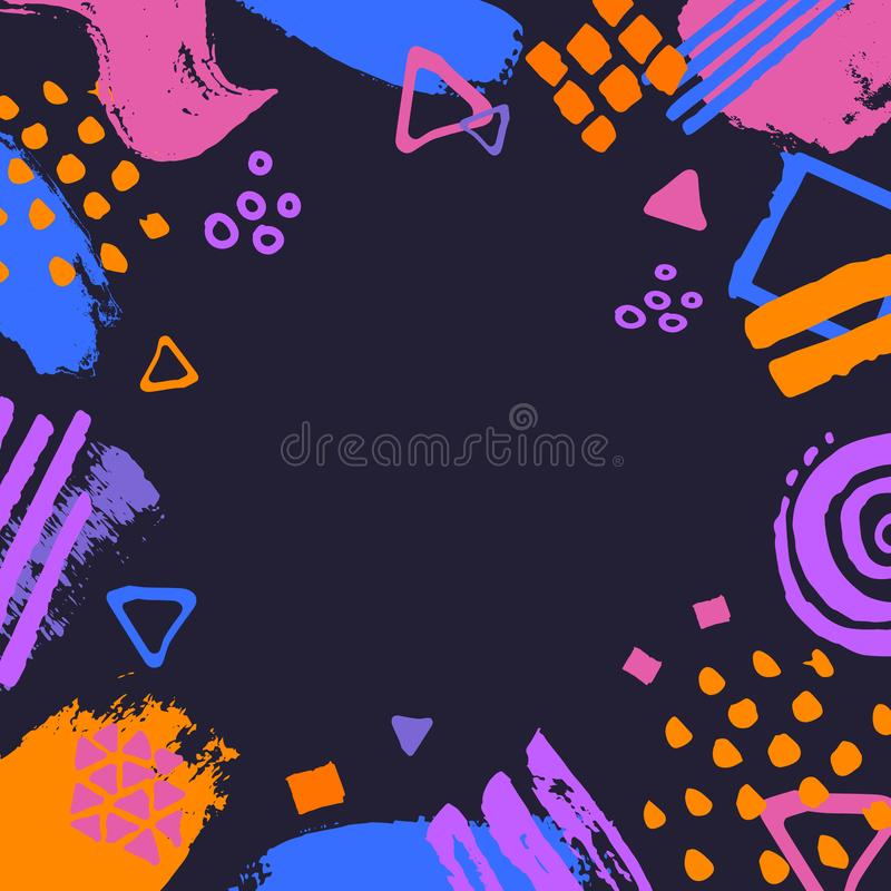 Abstract scribble doodle different shapes marker pen brush strokes dark blue pink orange colors border frame fun texture. Background stock illustration