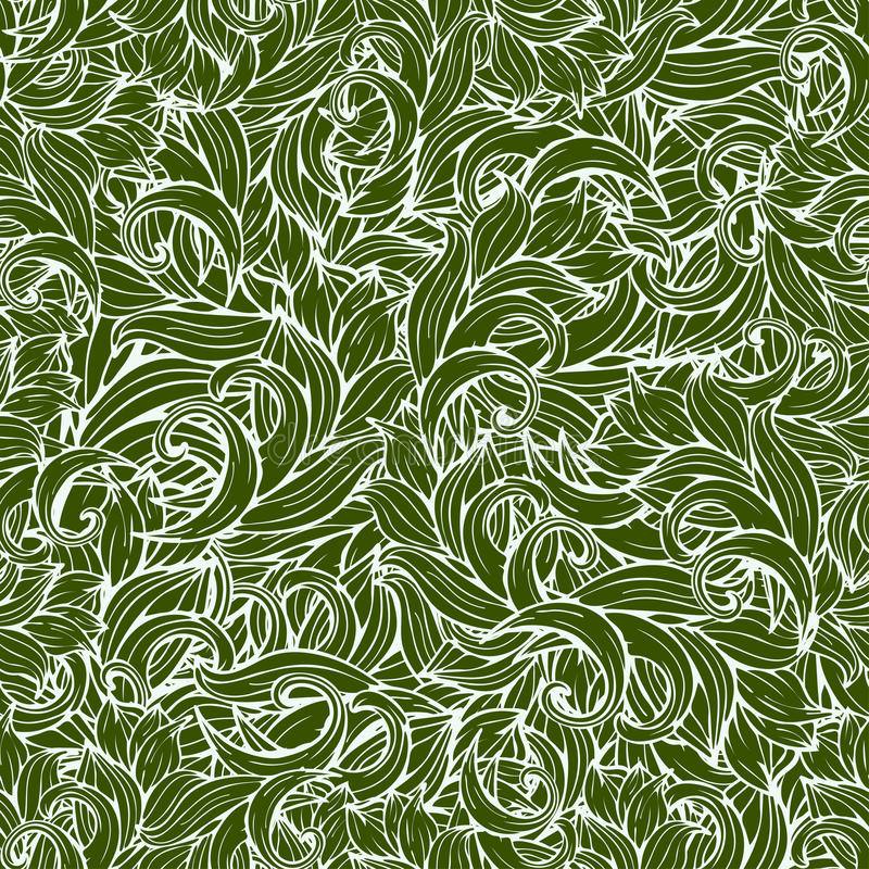 Abstract scrollwork seamless pattern, vector background. Green plants, grass, curls, waves. Natural stylized floral ornament. Hand stock illustration