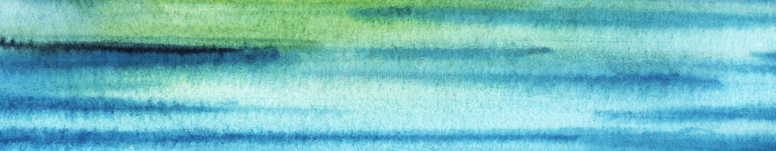 Abstract sea art. Hand drawn background in blue, gree shades. Watercolor texture with granulation. Multi colored stripes stock illustration