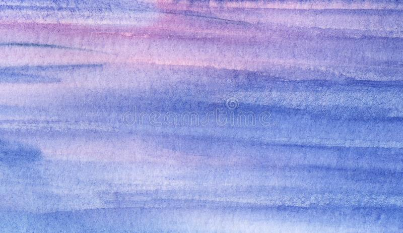Abstract sea art. Hand drawn watercolor background in blue and pink shades. Multi colored rippled and striped surface of water. Reflecting sunrise sky. Brush royalty free stock images