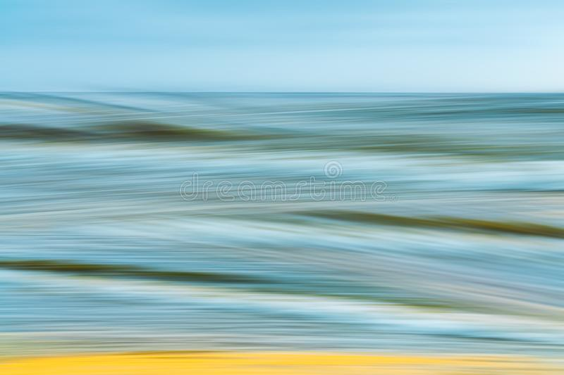 Abstract Background Seascape, Sand Beach, Summertime. Motion Blur, Long Exposure. royalty free stock photography