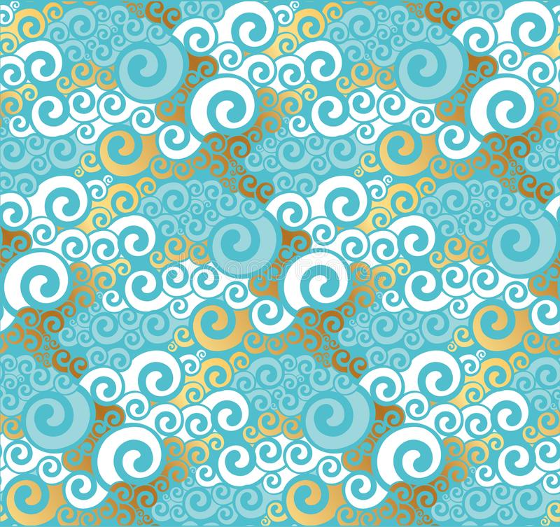 Abstract sea water seamless pattern. Art Nouveau gold and turquoise abstract wave repeatable motif for stock illustration