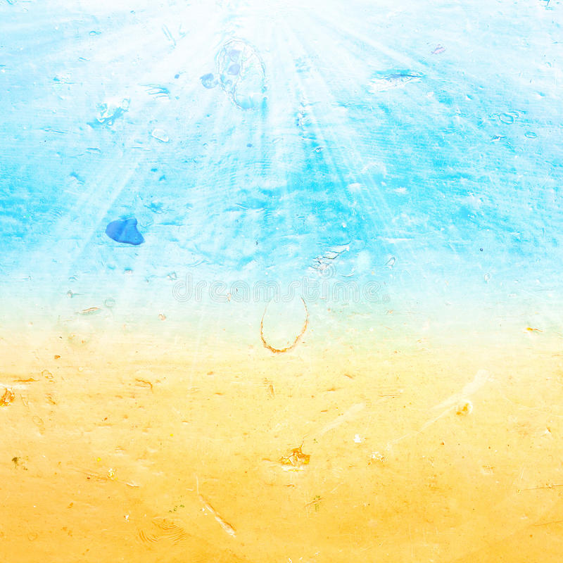 Abstract sea water summer textured background with summer ray. In old grunge style. Blue color oil paints background stock photos