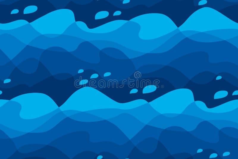 Abstract sea water waves seamless pattern. stock illustration