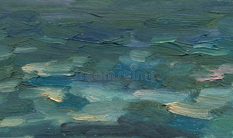 Abstract sea waves in a storm. Oil painting. Solid hand drawn artistic background. Abstract sea waves in a storm. Oil painting. Rough wide large brush strokes stock illustration