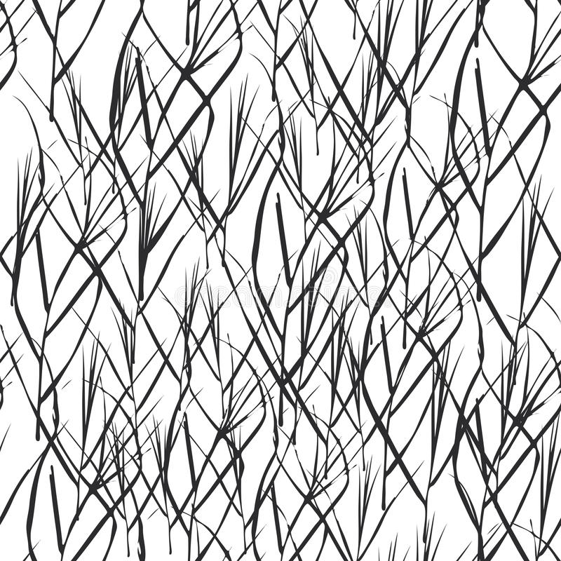 Abstract seamless background with Black grass leaves for fashion textile wallpaper or web background. Black silhouette, white bac royalty free illustration