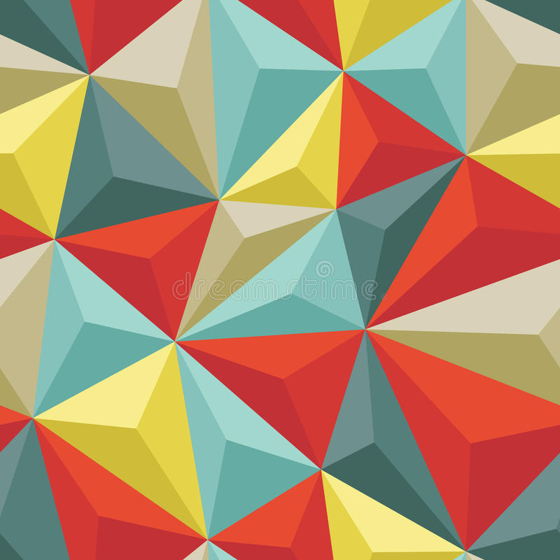 Abstract Seamless Background with Relief Triangles - Geometric vector pattern royalty free illustration