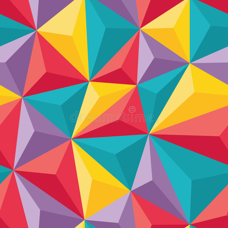 Abstract Seamless Background with Relief Triangles - Geometric vector pattern. For creative design projects royalty free illustration