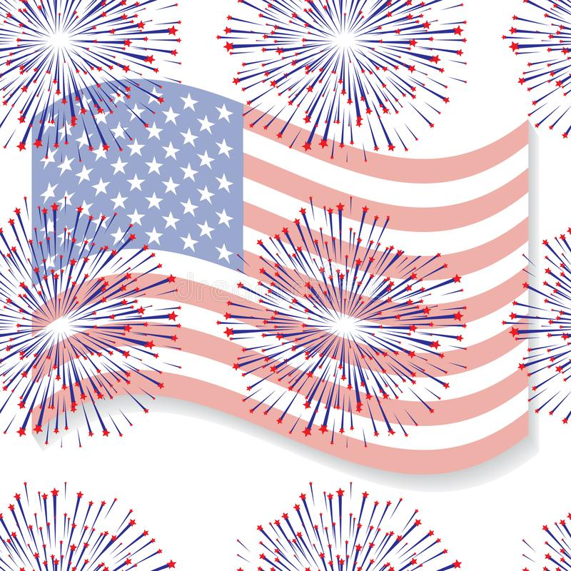 Abstract seamless background with USA flag pattern 4 stock illustration
