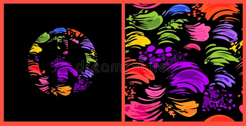Abstract Seamless Black Wallpaper With Colorful Brush Strokes And