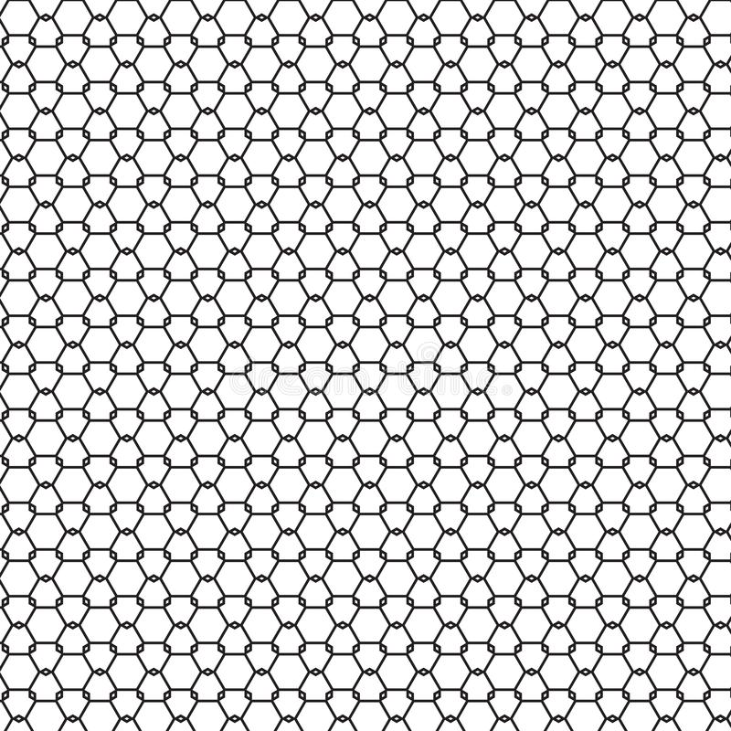 Abstract Seamless Black & White Geometric Ornament Pattern Of Fence Graphic Design Background Vector Illustration vector illustration