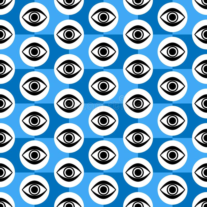Abstract Seamless Blue, Black and White Geometric Pattern with Blinking Eyes. Textured Surface of Tile Wall. Vector Wallpaper Illustration royalty free illustration