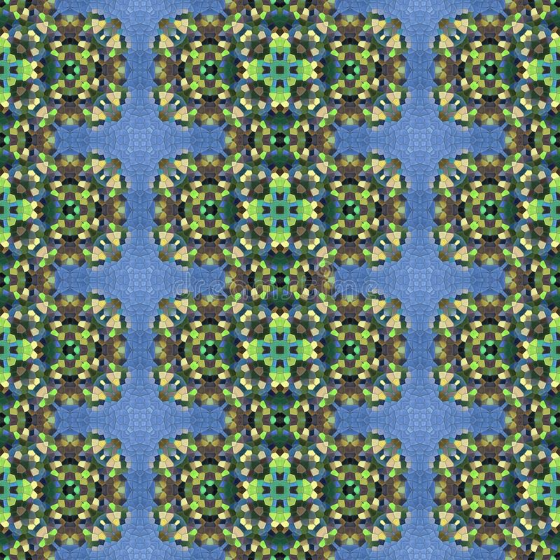 Abstract seamless blue green ornamental kaleidoscopic mosaic pattern vector illustration