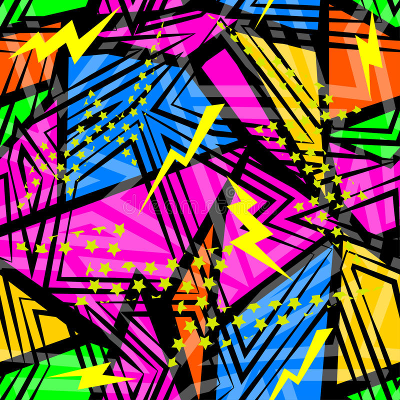 Abstract seamless chaotic pattern with urban geometric elements triangles. Grunge neon texture background. royalty free illustration