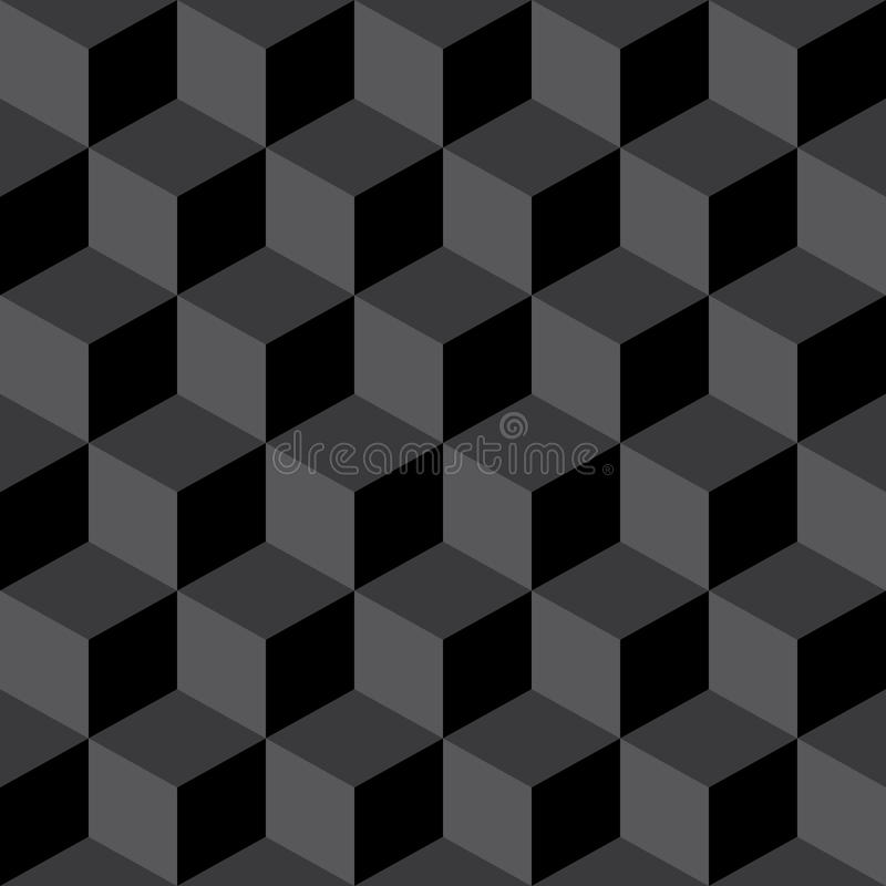 Abstract Seamless Checkered Cube Block Black & Gray Pattern Background stock illustration