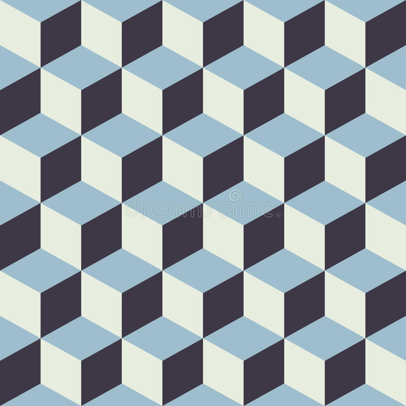 Abstract Seamless Checkered Cube Block Color Blue Pattern Background royalty free illustration