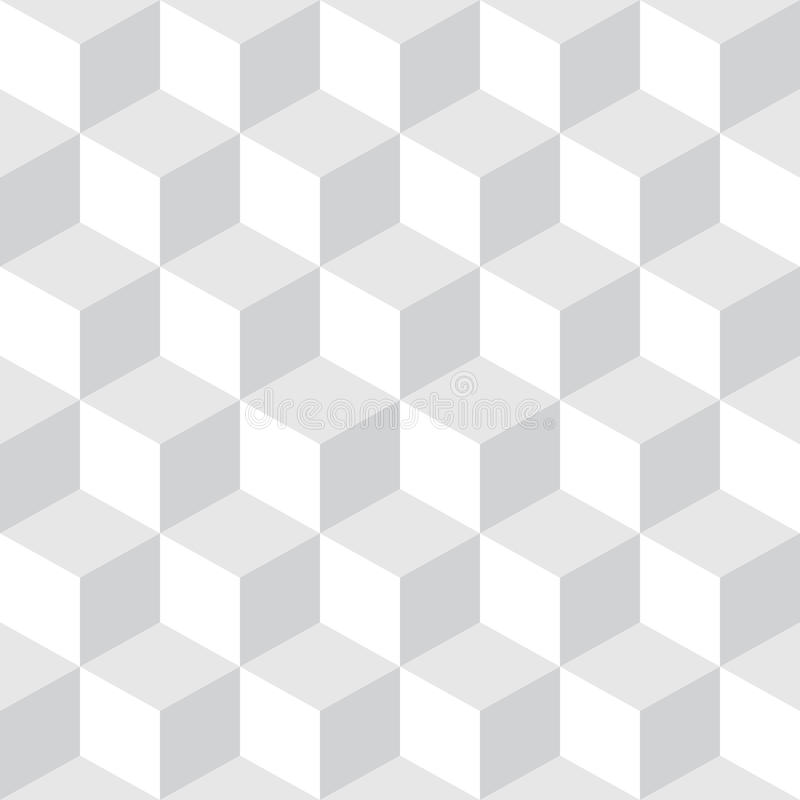 Abstract Seamless Checkered Cube Block Light Gray & White Pattern Background royalty free illustration