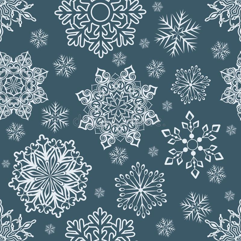 Abstract seamless Christmas snowflake pattern. stock illustration