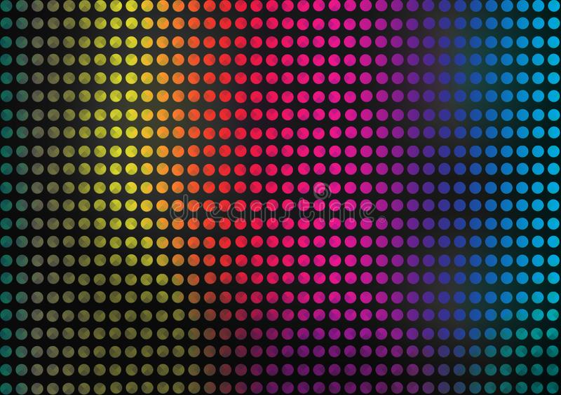 Abstract Seamless Colorful Dots Pattern in Dark Background stock illustration