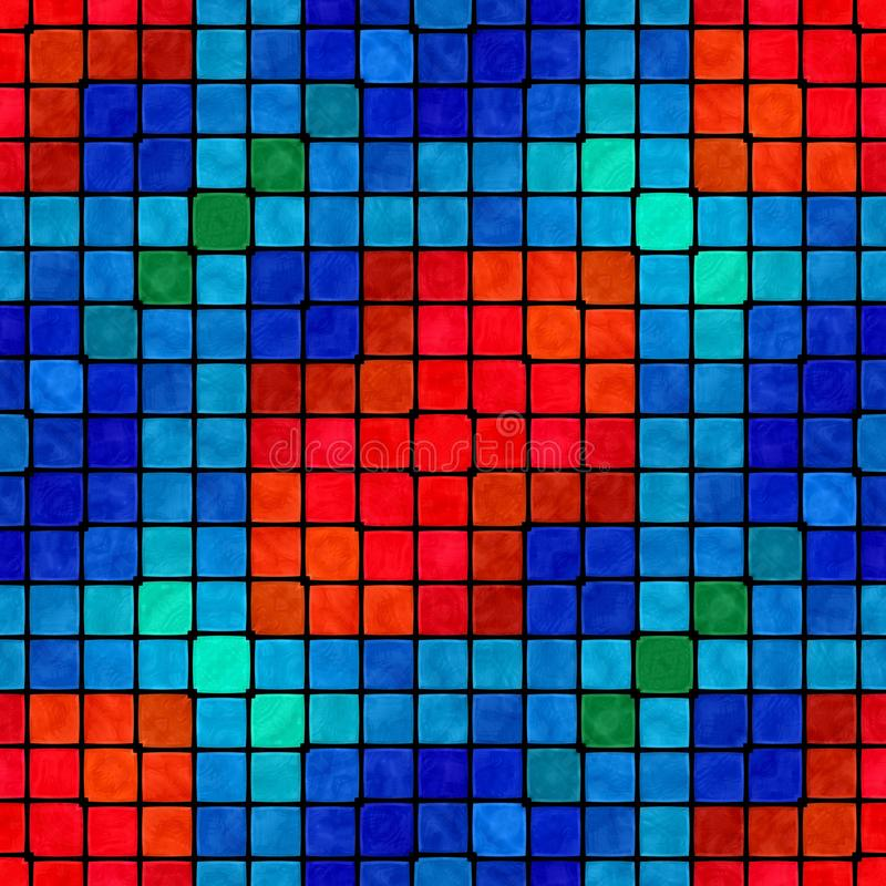 Abstract seamless colorful mosaic ornamental pattern. Abstract seamless red blue green black mosaic ornamental decorative pattern vector illustration