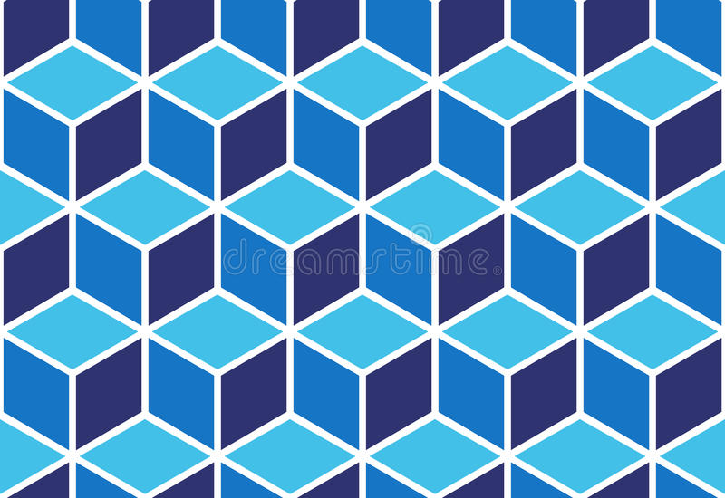Abstract seamless cube pattern. Seamless pattern of blue cubes. Endless cubic background. Optical illusion stock illustration