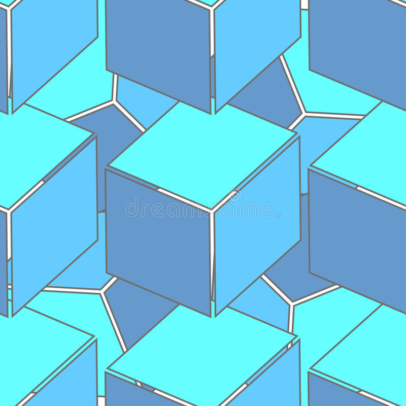 Abstract seamless 3d cubes pattern royalty free illustration