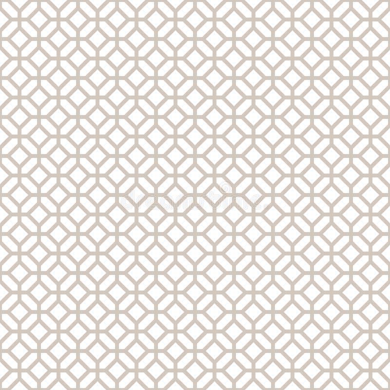 Abstract Seamless Decorative Geometric Light Gold & White Pattern royalty free illustration