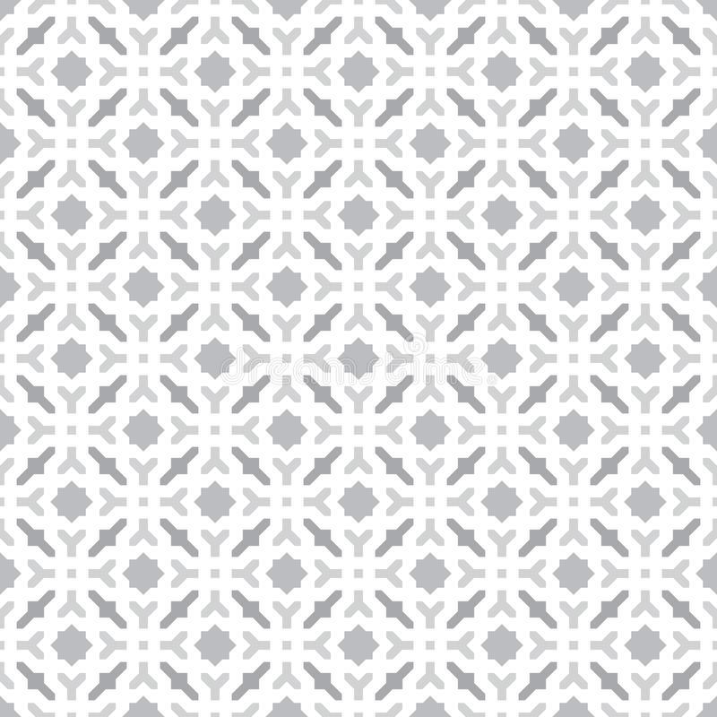 Abstract Seamless Decorative Geometric Light Gray & White Pattern Background stock illustration