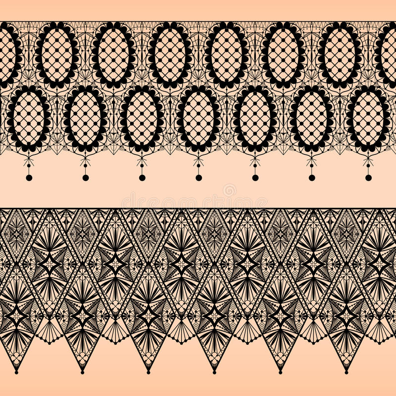 Abstract seamless fabric black lace pattern on bei stock illustration