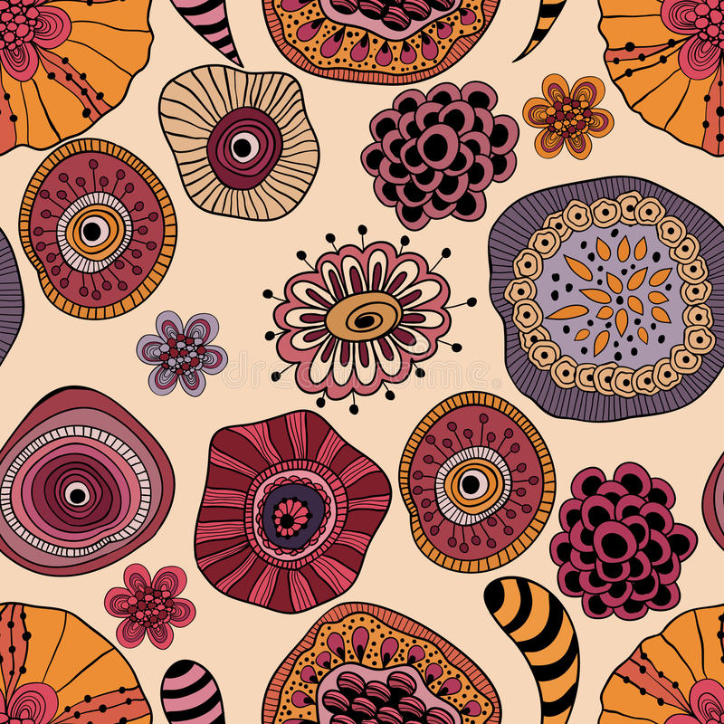 Abstract Seamless Floral Composition stock illustration
