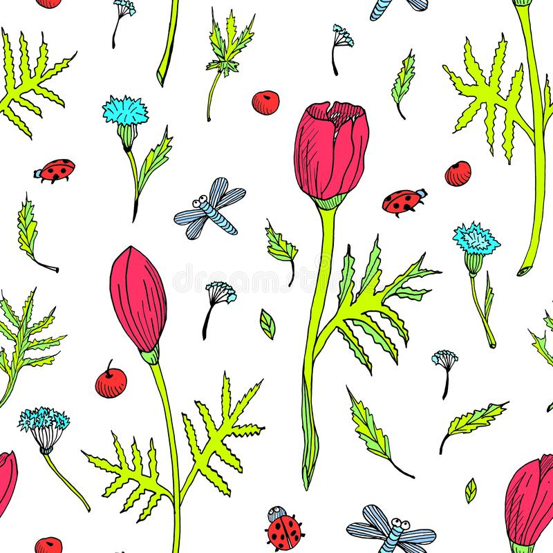 Abstract seamless floral pattern with tulips, leaves and herbs. Hand drawn colored flowers on white background royalty free illustration