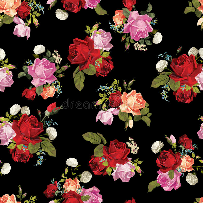 Abstract seamless floral pattern with white, pink, red and orange roses on black background stock illustration