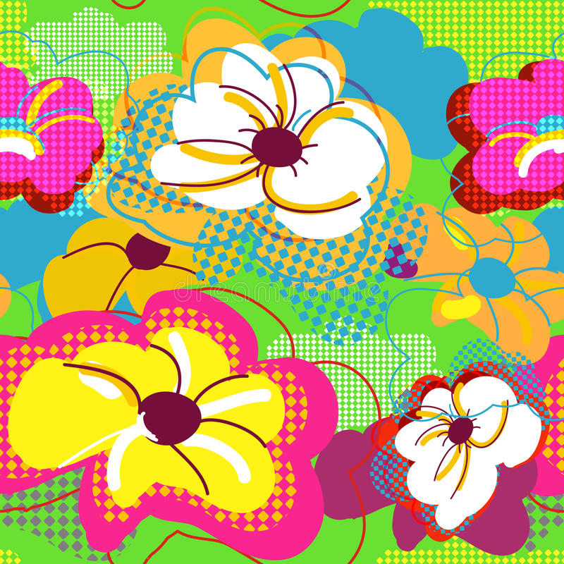 Abstract seamless floral texture vector illustration